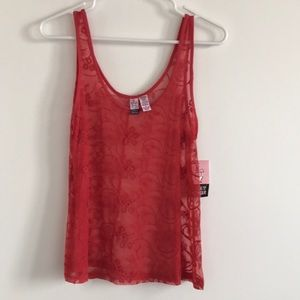 NWT tank lace sheer love on a hanger